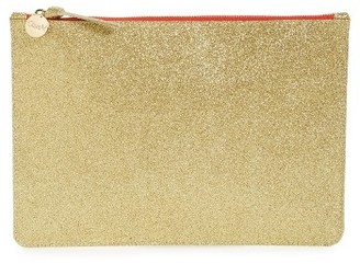 Clare V. Glitter Leather Zip Clutch - Metallic $215 thestylecure.com
