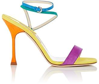 Brian Atwood WOMEN'S SIENNA SUEDE ANKLE-WRAP SANDALS