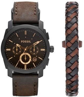 Fossil Machine Chronograph Dark Brown Leather Watch And Bracelet Box Set Jewelry SET