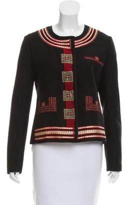 Hache Collarless Embroidered Jacket
