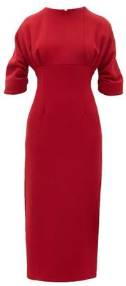 Emilia Wickstead Hannah Gathered Wool Crepe Midi Dress - Womens - Dark Red