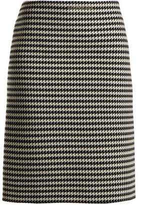 Balenciaga Checked Wool Blend Pencil Skirt - Womens - Black White