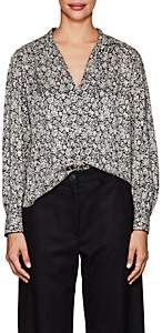 Masscob Women's Floral Silk Blouse - Black