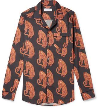 Desmond & Dempsey - Printed Cotton Pyjama Shirt - Orange