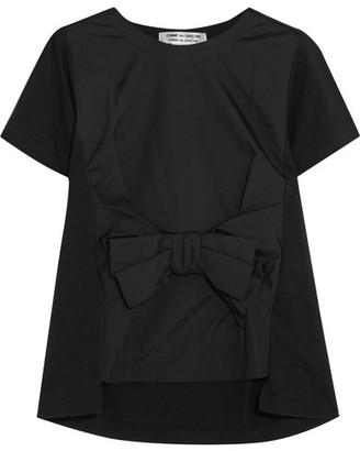 Comme des Garçons Comme des Garçons - Bow-embellished Satin And Cotton-jersey T-shirt - Black $530 thestylecure.com