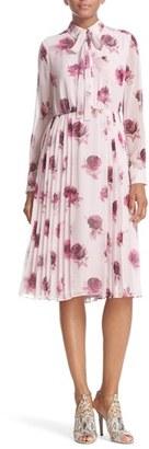 Women's Kate Spade New York 'Encore Rose' Tie Neck Pleat Chiffon Dress $498 thestylecure.com