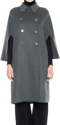 Max Studio Doubleweave Wool Draped Sleeve Coat