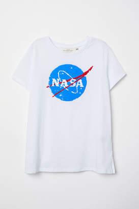 H&M Reversible Sequin T-shirt - White