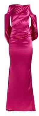 Talbot Runhof Drape-Back Satin Gown