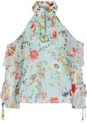 befca6e9922418 Alice + Olivia Blayne Cold-shoulder Floral-print Silk-chiffon Blouse