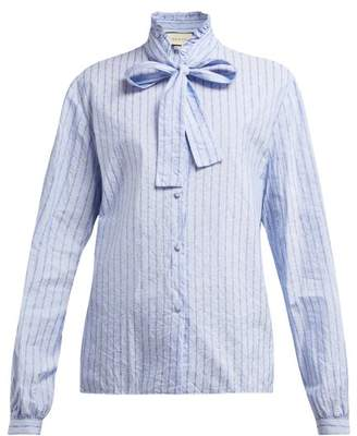 Gucci Pussy Bow Striped Logo Jacquard Cotton Shirt - Womens - Blue Print