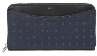 Skagen Printed Letter Zip Around Wallet