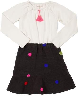 Billieblush Cotton Jersey & Felt Techno Wool Dress