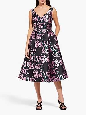 Adrianna Papell Flower Flared Tea Dress, Pink/Black