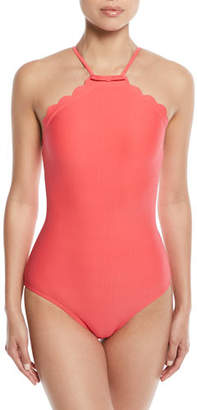Kate Spade Scalloped High-Neck One-Piece Swimsuit