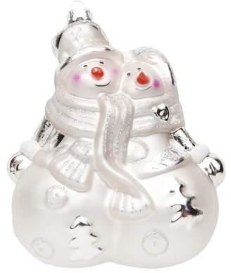 Silver Tree White Snow Couple Glass Ornament