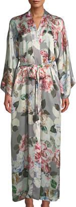 Christine Lingerie Jolie Floral-Print Silk Long Robe