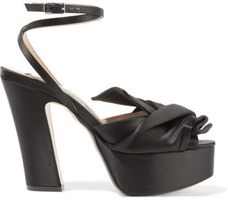 No.21 No. 21 - Knotted Satin Platform Sandals - Black
