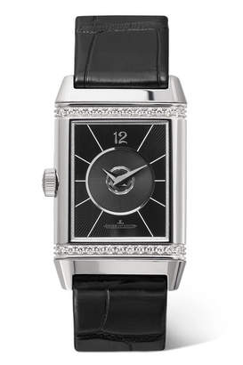 Jaeger-LeCoultre Reverso Classic Duetto 24.4mm Medium Stainless Steel, Alligator And Diamond Watch - Silver