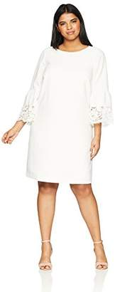 Jessica Howard Women's Plus Size Bell Sleeve Shift with Lace Trim
