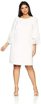 Jessica Howard Women's Plus Size Bell Sleeve Shift Lace Trim
