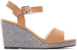CASTALUNA PLUS SIZE Wide Fit Faux Suede Patterned Wedge Sandals