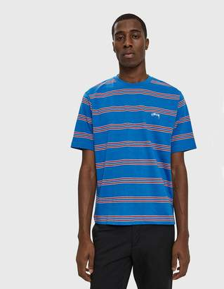 Stussy S/S Double Stripe Crewneck Tee in Blue