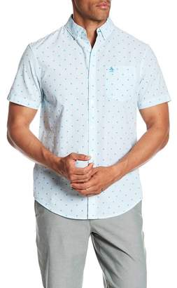 Original Penguin Floral Print Textured Short Sleeve Slim Fit Shirt