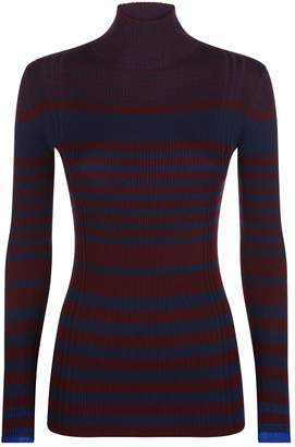 Victoria Beckham Victoria, Striped Ribbed Turtleneck Sweater