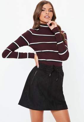 Missguided Burgundy Funnel Neck Stripe Ribbed Top, Cream