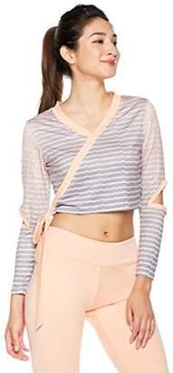 Mint Lilac Women's Cropped Long Sleeve Criss Cross Top