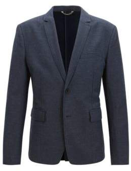 BOSS Hugo Twill Cotton Linen Sport Coat, Slim Fit Bedge BS W 46R Dark Blue
