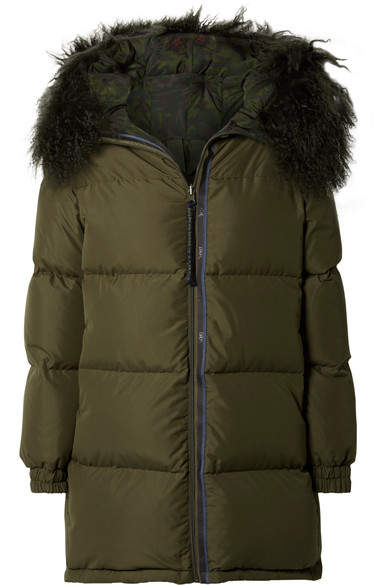 MR & MRS ITALY - Hooded Shearling-lined Quilted Shell Parka - Dark green