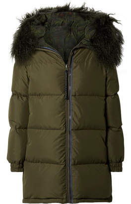 Mr & Mrs Italy Hooded Shearling-lined Quilted Shell Parka - Dark green