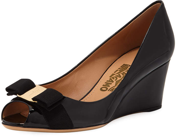Salvatore Ferragamo Mid-Wedge Pumps, Black
