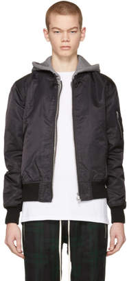 R 13 Black Co Hooded Flight Jacket