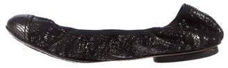 Chanel CC Embossed Leather Cap-Toe Ballet Flats