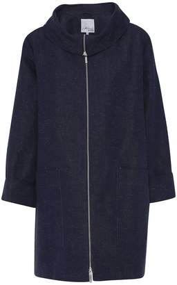 Mcverdi Oversize Spring Coat With Sculptural Collar In Marine Blue