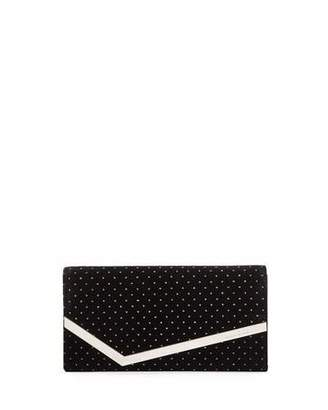 Jimmy Choo Emmie Glitter Spotted Velvet Clutch Bag