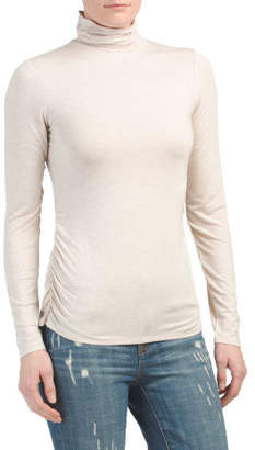 Turtleneck Long Sleeve Ruched Top