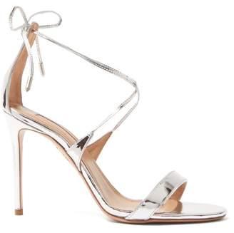 Aquazzura Very Linda 105 Leather Sandals - Womens - Silver