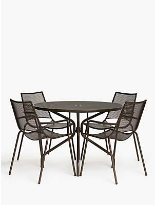 John Lewis & Partners Ala Mesh 4-Seat Garden Dining Table and Chairs Set, Bronze
