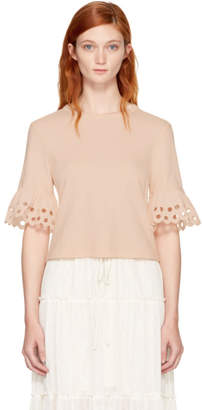 See by Chloe Pink Eyelet T-Shirt