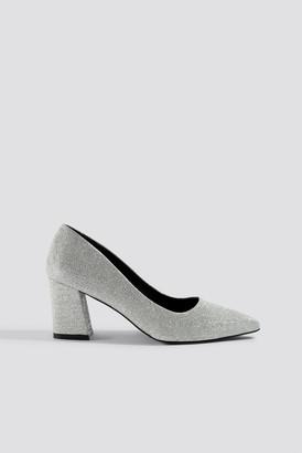 Na Kd Shoes Sparkling Block Heel Pumps Silver