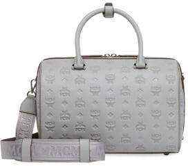 MCM Women's Essential Monogrammed Leather Embossed Logo Bowling Bag - Dove