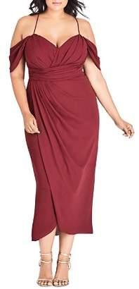 City Chic Plus Entwine Ruched Cold-Shoulder Maxi Dress