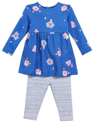 Joules Christina Long-Sleeve Floral Dress w/ Striped Leggings, Size 6-24 Months