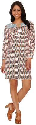 C. Wonder Printed Knit Dress with Embroidery