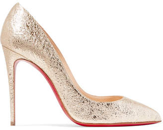 Christian Louboutin Pigalle Follies 100 Metallic Crinkled-leather Pumps - Gold