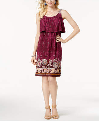 Style&Co. Style & Co Border-Print Flutter-Overlay Dress, Created for Macy's